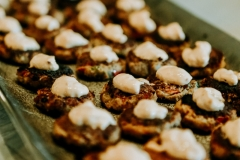 Cajun Crab Cakes topped with Garlic-Chili Aioli